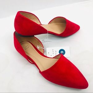 Rebecca Microsuede Pointed Flats RED A New Day 9